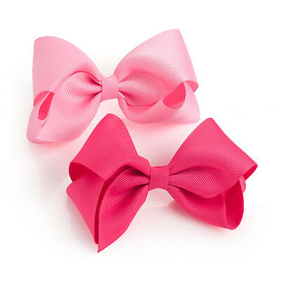 "2 Pack Pink Hair Bow Girls Clips School Ribbon 4"" Slides Accessory Pair Pack"