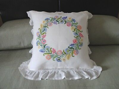 Attractive Unused Vintage Hand Embroidered Cushion Cover Front/Panel/Tablecloth