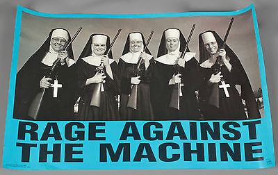 Vtg. 90s Rage Against the Machine Nuns with Guns Poster 34.25x22 Inches 1997#408