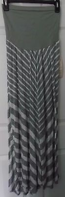 Motherhood Oh Baby Bump Style Gray White Striped Maxi Skirt - Size X-Large - Nwt