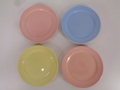"4 Vtg Taylor Smith LuRay Pastels 6 1/4"" Bread Dessert Plates Pink Blue Yellow"