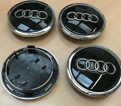 Set of 4 Black Alloy Wheel Center Caps to fit AUDI- 68mm - New