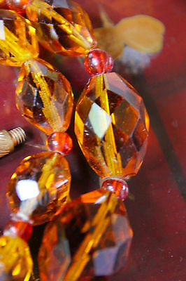 Vintage Amber/topaz Colour Quality Graduated Glass Bead Double-String Necklace