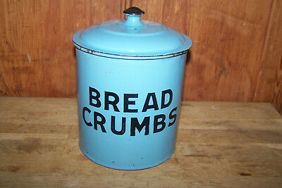 "Vintage English Enamel / Granite Ware Lidded Cannister. ""bread Crumbs"" Kitchen"