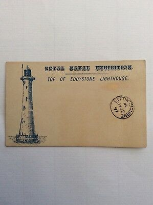 1891 Royal Naval Exhibition. London Cancel On Eddystone Lighthouse Card