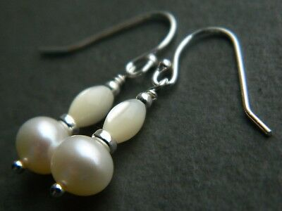 Freshwater Pearls (A+ Grade), Vintage Mother of Pearl & Sterling Silver Earrings