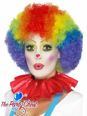 CLOWN'S RED SATIN NECK RUFFLE Circus Costume Fancy Dress Accessory 46868
