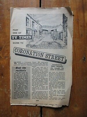 1960s CORONATION STREET TV TIMES PULL - OUT GUIDE TO THE CHARACTERS