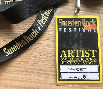 Sweet - Sweden Rock 2013 Artist Pass See Scan For Dates