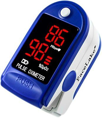 FaceLake FL400 Pulse Oximeter with Carrying Case Batteries Neck/Wrist Cord Blue