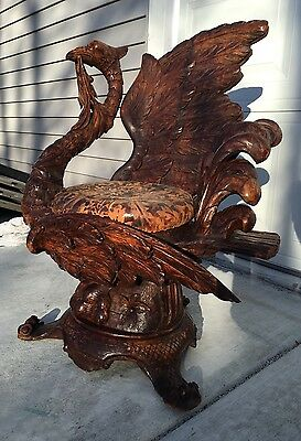 19Th C. Venetian  Carved Fantasy/Grotto Chair, Superb Fantasy Bird Carving!