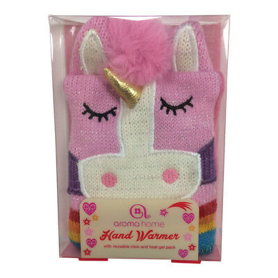 Novelty Knitted Reusable Unicorn Single Hand Warmer– Click Heat Gel Pocket Gift