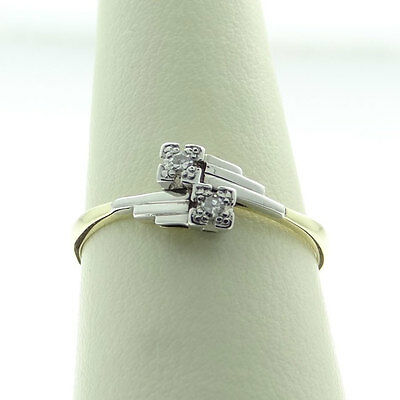 18ct Gold and Platinum Two Stone Diamond Ring c1930