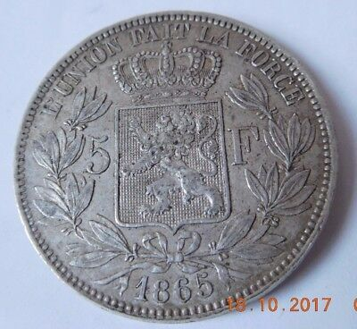 Belgium - 5 Francs 1865 - Hard To find in this condition - Leopold 2 - KM#24