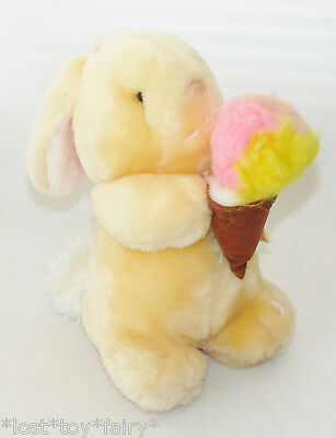 "Animal Fair Orange Bunny Rabbit Ice Cream Cone Plush Stuffed Peach Toy 10"" 1444A"