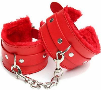 De lux High Quality Red Fur Bondage Ankle Cuffs - restraint sexy