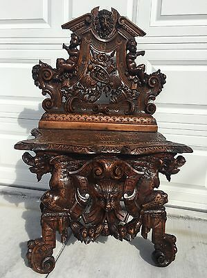 "Italian Carved Griffin,Cherub, Lion Bench /Hall Chair Large Scale  33"" W x 50"" H"
