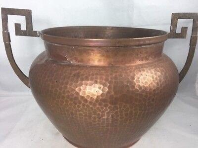 Antique TURCHIN INC NY Arts & Crafts Mission Hammered Copper Bowl Pot Jardiniere