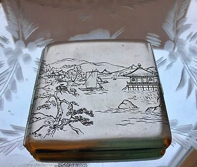 Beautiful Antique Japanese Cigarette Case Sterling Silver
