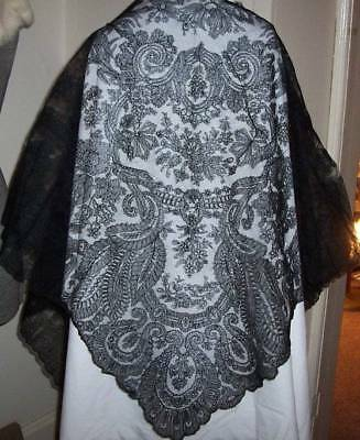 ANTIQUE~VICTORIAN~FRENCH~CHANTILLY Lace SHAWL~FLOUNCE LOT