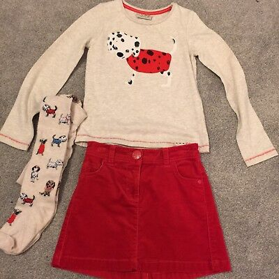 Next Age 4-5 Spotty Dog Outfit, Long Sleeve Top Red Cord Skirt & Matching Tights