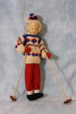"""8"""" Ronnaug Petterssen Tagged felt girl skier with ski-is and poles 1950s Clean!"""