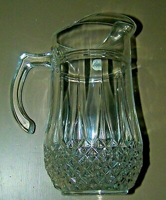 Nice Longchamp Clear Lead Crystal Pitcher Cristal DArques France Boxed