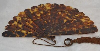 hand fan early carved shell  Civil War Era  14 in antique original 1800 vg