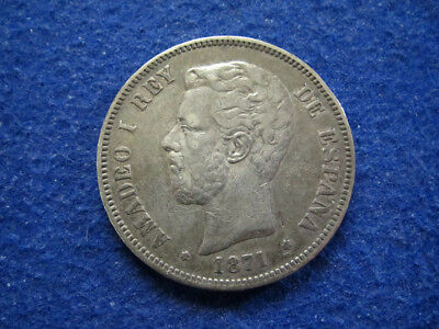 1871 Spain Silver 5 Pesetas - Nicely Toned VF+ - Free U S Shipping