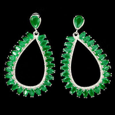 43x28mm Gorgeous Aaa Green Aventurine 925 Sterling Silver Earrings No Reserved
