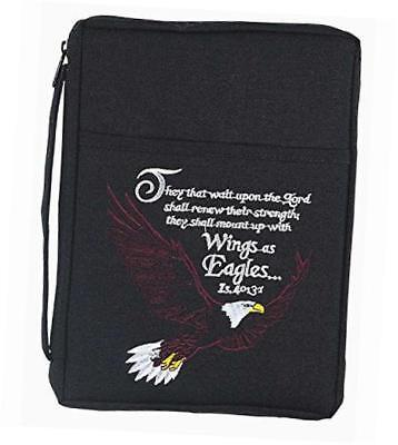black bald eagle 8.5 x 10.5 embroidered polyester bible cover case with handle