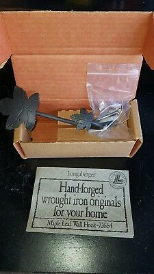 Brand New Longaberger Wrought Iron Maple Leaf Wall Hook, Set of 2, # 72664, L2