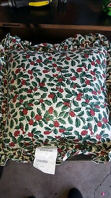 "Brand New Longaberger Traditional Holly Ruffled/Corded Pillow, 16"" X 16"""