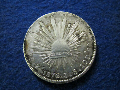 1876 Zs Mexico Silver 8 Reales - Zacatecas Mint  - Free U S Shipping