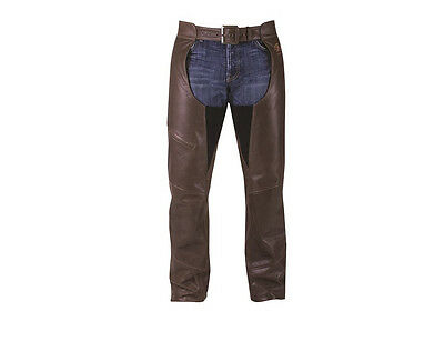 Indian Logo Mens Brown Leather Riding Chaps