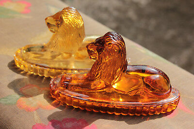 Two small amber pressed glass mantelpiece lions-John Derbyshire-Victorian C1880