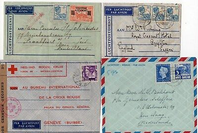 4 Netherlands Indies Air Mail Covers Including A Red Cross Censored Cover