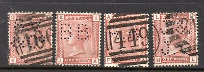 Queen Victoria 1d SG166 x 4 Different Used Perfins See Scans For Full Detail Etc