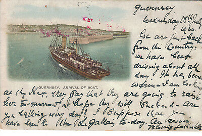 Guernsey Arrival Of Boat 1900