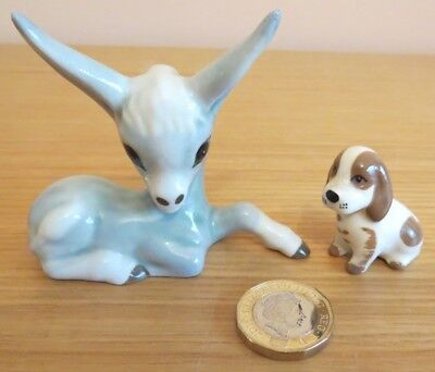 Cute Vintage Szeiler Donkey and Puppy Ornaments