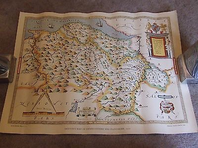 1577 -  Antique Map -  Flintshire and Denbighshire - Saxton