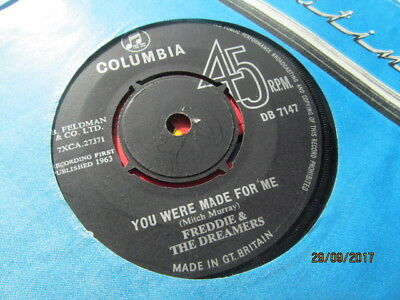 """Freddie And The Dreamers 7""""  Vinyl - You Were Made For Me / Send A Letter To Me"""