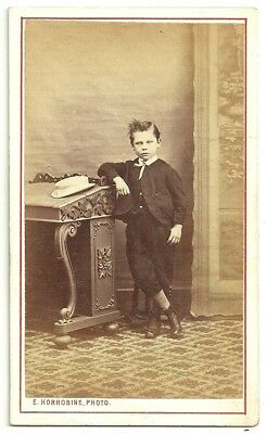 Victorian cdv photo child boy wearing suit Morecambe & Skipton  photographer