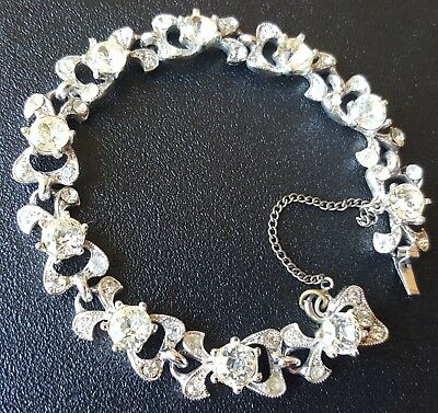 "Signed BOGOFF Vintage 7"" Bracelet Wedding Clear Crystal Rhinestone Sparkle X69"