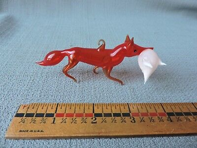 Antique German Glass Christmas Ornament FOX WITH GOOSE IN MOUTH ***** 1940's