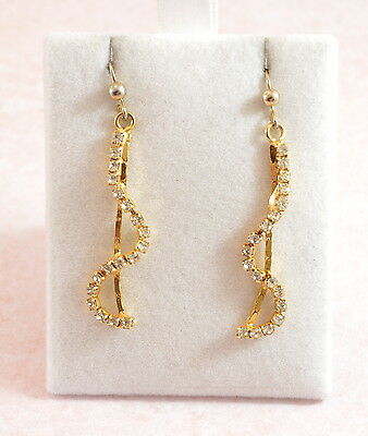 Vintage/Vtg style pretty gold plated drop earrings with clear stones