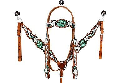 Hand Tooled Western Leather Show Bridle Headstall Breast Collar Horse Tack Set