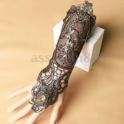 Sexy Women Ladies Steampunk Goth Party Costume Kitted Lace Long Gloves PM