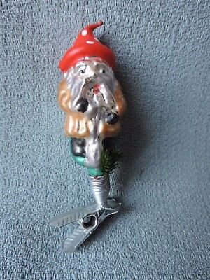 Antique German Glass Christmas Ornament GNOME WITH POINTY MUSHROOM HAT 1940's