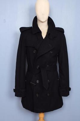 Stunning Mens BURBERRY Double Breasted Short TRENCH Coat Mac Navy Size 38/40